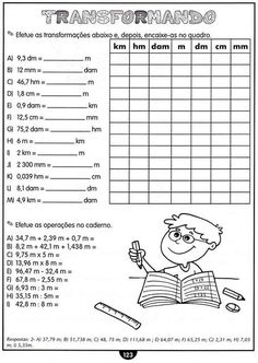 Atividades com Medidas de Comprimento Matemática 4 Ano. | Aprender e Brincar