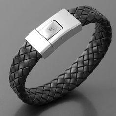 Armband Flechtleder schwarz Edelstahl Leder Bandito