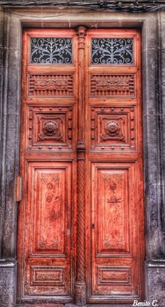 Reus, Tarragona, Spain - super tall wooden doors, carved, possible glass at very top