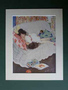 Original 1930s Print Of A Sleepy Girl & Her Black Cat