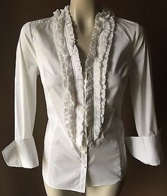ANN TAYLOR PINTUCK PLEATED RUFFLE V-NECK WHITE BUTTON DOWN TOP SHIRT BLOUSE 8