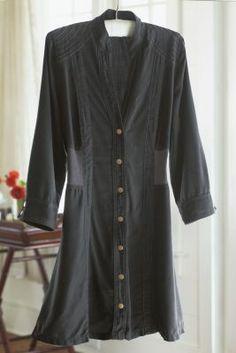 Shapely Tencel Shirt - Tencel Shirt, Stand Collar, Split-front Neckline   Soft Surroundings