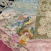birds & lace crazy quilt block