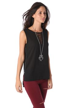 BLACK ZIP SIDE TOP WITH LACE DETAIL | Your Style Code