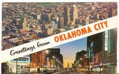 1963 Postmarked Postcard Greetings from Oklahoma City OK 2 Views
