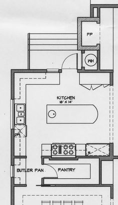 not quite our kitchen/dining configuration - but perhaps an option for the L-shaped kitchen + pantry opening from Kitchen?