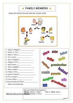 We learn about family members ( 2 pages) - ESL worksheets