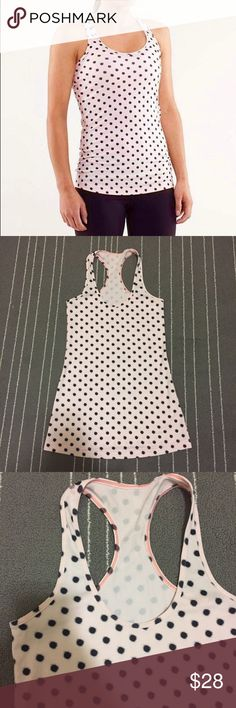 🎄Sale! NWOT Lululemon pink dot Cool Racerback Flawless perfect condition, NEW without tags. Size 4, adorable pink Cool Racerback with polka dots! lululemon athletica Tops Tank Tops