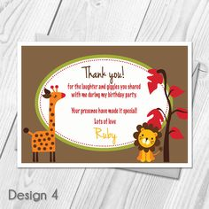 Personalised Animal Zoo Childrens Birthday Party Thank You Cards Seasame Street Party, Thank You Cards From Kids, Text Photo, Mail Delivery, Animal Cards, Birthday Party Invitations, Royal Mail, Email Address, Party Themes
