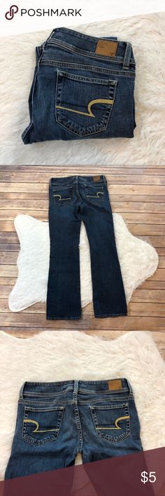 American Eagle Slim Boot Short Jeans Size 2 READ Has a small hole as pictured selling as is  Inseam pictured American Eagle Outfitters Jeans