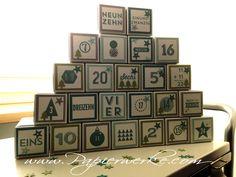 Adventskalender mit dem Stempelset 24 Türchen bestempelt. Mehr auf www.Papierwerke.com