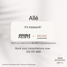 Have you scheduled your CoolSculpting treatments yet? There's no better time than now. You can double up on our promotions: • Buy 4 treatments; get 1 treatment free! • Get Double Alle points Book now. 312.757.4505 #coolsculpting #freezefat #alle Plastic Surgery Procedures, Cool Sculpting, Double Up, Got 1, Conditioner, Cards Against Humanity, How To Apply, Books, Free