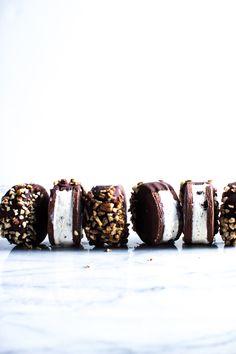 ... chocolate dipped ice cream sandwich cookies ...
