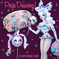 de8bcf03ed87 Lollipop Doll pinup makeup bag! Design by Miss Fluff (Claudette Barjoud) of  www.fluffshop.com  pinup  candy  cute  lollipop  kawaii  fluff