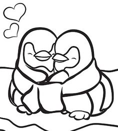 Printable Winter Coloring Pages: Penguins in Love (via Parents.com)