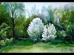 Весенний пейзаж акварелью, Spring landscape watercolor, irishkalia - YouTube