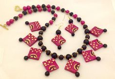 Terracotta Set /w Pink & Black Choker Style Necklace & Earrings