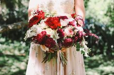 Elegant Wedding Bouquet With: Reds, Sangria, Marsala, Merlot, Peach, Pink, Cream, Greens...