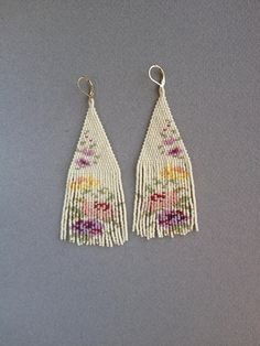 c60a42ece29fb6 Garden of Roses earrings Fringe Earrings, Boho Earrings, Earrings Handmade,  Unique Earrings,