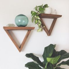 These geometric wooden shelves add the perfect touch of minimalist decor! Ideal for displaying small plants and succulents, your crystal. Ladder Shelf Diy, Pallet Shelves, Small Wooden Shelf, Wooden Shelves, Wood Window Boxes, Window Plants, Wood Barn Door, Barn Door Designs, Triangle Shelf