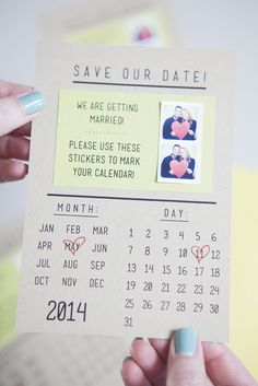 Love this idea! print mini sticker pictures using Printstagram, include them on the invitation so your guests can mark their calendars.