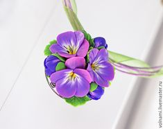 Polymer clay jewelry with pansies - purple pansies pendant- flower jewelry