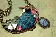 My Wish For You Assemblage Mixed Media Charm Necklace Statement Bib St | shadesongs - Jewelry on ArtFire