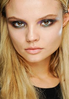 Top make-up trends for Fall 2012: Multicolored lids at Roberto Cavalli.    For a magnetic gaze, this make-up look in four metallic-flecked colors blends together on the eyelids.