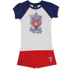 adidas Texas Rangers Toddler Girls Baseball Love Top and Shorts Set - Navy Blue/Red