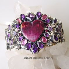 Leo Feeny Purple Spiny Oyster(the heart) and Gemstone Cuff braclet Heart Bracelet, Heart Jewelry, Bracelets, Heart Songs, Vintage Hair Accessories, Purple Jewelry, Southwest Jewelry, Red Hats, Native American Jewelry