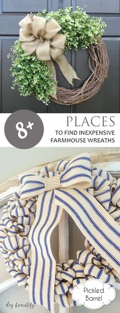 8+ Places to Find Inexpensive Farmhouse Wreaths| FArmhouse Wreath, Farmhouse Wreath DIY, Farmhouse Wreath Decor, Farmhouse Decor, Porch Decor, Porch Decor Ideas #farmhouse #farmhousedecor #farmhousestyle