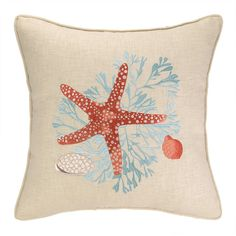 Found it at Wayfair - Sealife Coral Linen Throw Pillow