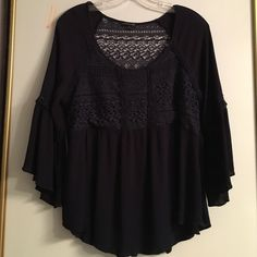 Navy peasant blouse Lovely dark blue peasant blouse, belle sleeves, gathered empire waist, (great belly coverage) lace back.  Really cute on! mmCmmCmm Tops Blouses