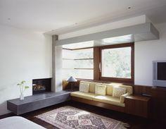 corner window, seat, fireplace