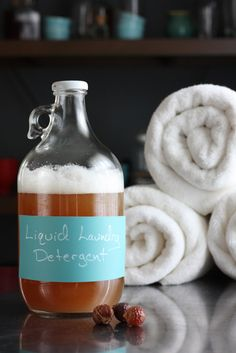 Easy homemade liquid laundry detergent made from soap nuts. Great for regular laundry AND cloth diapers.