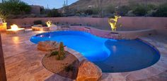 pool with fire pit | Barracuda Pool Service Custom Pool With Fire Pit