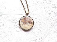 World Necklace- Worls map necklace- Map necklae- Travel the World Necklace- Map of the World- Europe map jewelry- gift for her Etsy Jewelry, Jewelry Gifts, World Map Europe, World Map Necklace, Bronze Pendant, Travel Jewelry, Clay Charms, Gifts For Her, Just For You
