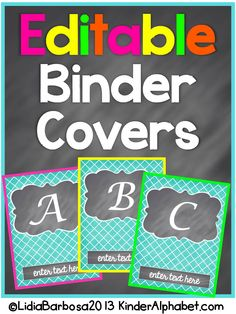 Editable Binder Covers that you can personalize with your name or other text on the bottom of the printable.