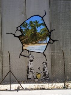 "Well-known UK graffiti artist Banksy hacks the Wall---""Much of the art he produced on the Wall visually subverts and draws attention to its nature as a barrier by incorporating images of escape — a girl being carried away by a bunch of balloons, a little boy painting a rope ladder."" 