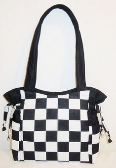 Black White Racing Checkered Flag Handbag, Shoulder Bag, Tote