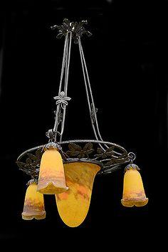 "Muller Freres Pate de Verre Three-Light Chandelier Origin: France. Circa: 1930. Dimensions: Width: 22"", Height: 38""."