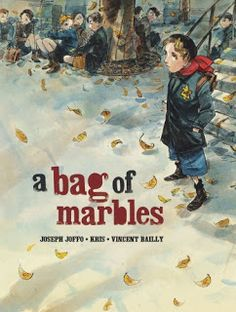 A Bag of Marbles / based on the memoir by Joseph Joffo; adapted by Kris; illus. Vincent Bailly; trans. Edward Gauvin: In 1941, ten-year-old Joseph Joffo and his older brother Maurice must hide their Jewish heritage and make the long, dangerous journey from Nazi-occupied Paris to reach their other brothers in the free zone. (YA Graphic Novel) 10/14/13