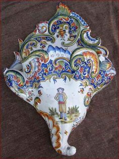 Large French Wall Pocket Vase Bouquetiere Desvres Rouen 1900