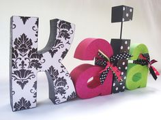 Custom Wood Letters, Nursery Letters, Children's Decor, Baby Shower, Black and White, Hot Pink and Green Customized for you Set of 4