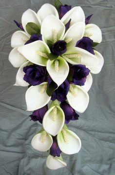 about Wedding Bouquet - White Real Touch Calla lillies and purple silk roses Brides *heart eyes emoji* - White Latex Foam Calla Lily & Purple Lisianthus Teardrop*heart eyes emoji* - White Latex Foam Calla Lily & Purple Lisianthus Teardrop White Wedding Bouquets, Bride Bouquets, Flower Bouquet Wedding, Purple Wedding, Wedding Colors, Trendy Wedding, Wedding Ideas, Lily Wedding, Wedding White