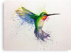 'hummingbird' Canvas Print by lunorevo Hummingbird Drawing, Hummingbird Tattoo, Watercolor Hummingbird, Watercolor Animals, Watercolor Paintings, Dragonfly Art, Bird Illustration, Learn To Paint, Body Art