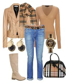 """Beige, denim og svart."" by inger-lise on Polyvore featuring Balenciaga, rag & bone, Burberry, s.pa accessoires, Marc by Marc Jacobs and FOSSIL"