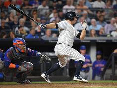 Subway Series 2017  -  The Yankees swept the Mets in the Subway Series Aug. 14-17, 2017, winning all four games at Yankee Stadium and Citi Field:   New York Yankees left fielder Brett Gardner hits an infield single against the New York Mets during the fifth inning in a MLB baseball game at Yankee Stadium on Monday, Aug. 14, 2017.