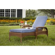 Hampton Bay Spring Haven Brown All-Weather Wicker Patio Chaise Lounge with Sky Cushions-66-20352 - The Home Depot