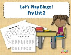 Fry List 2 - Words 101 to 200 40 Bingo Cards with Free Space 25 playing spaces per cards Call list of the 100 words randomized Print on card stock and laminate for multiple uses Print on regular paper for one-time use